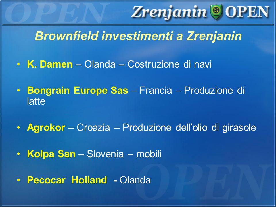 Brownfield investimenti a Zrenjanin K. Damen – Olanda – Costruzione di navi Bongrain Europe Sas – Francia – Produzione di latte Agrokor – Croazia – Pr