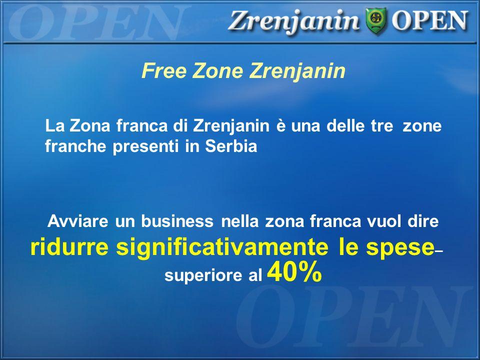 Free Zone Zrenjanin Avviare un business nella zona franca vuol dire ridurre significativamente le spese – superiore al 40% La Zona franca di Zrenjanin