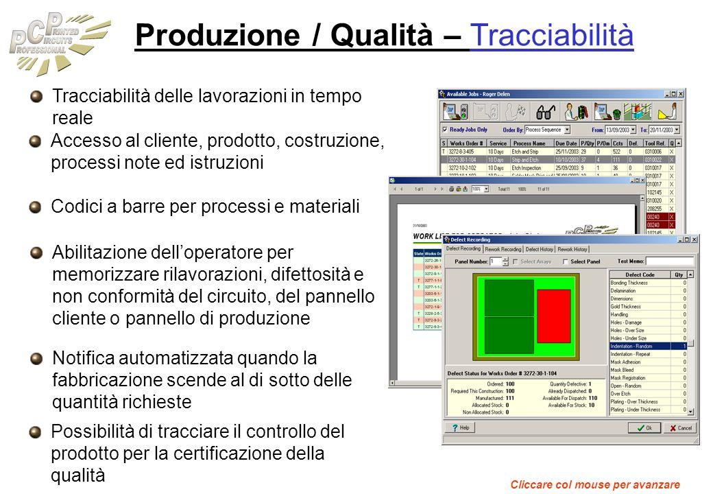 Produzione / Qualità – Tracciabilità Tracciabilità delle lavorazioni in tempo reale Accesso al cliente, prodotto, costruzione, processi note ed istruz
