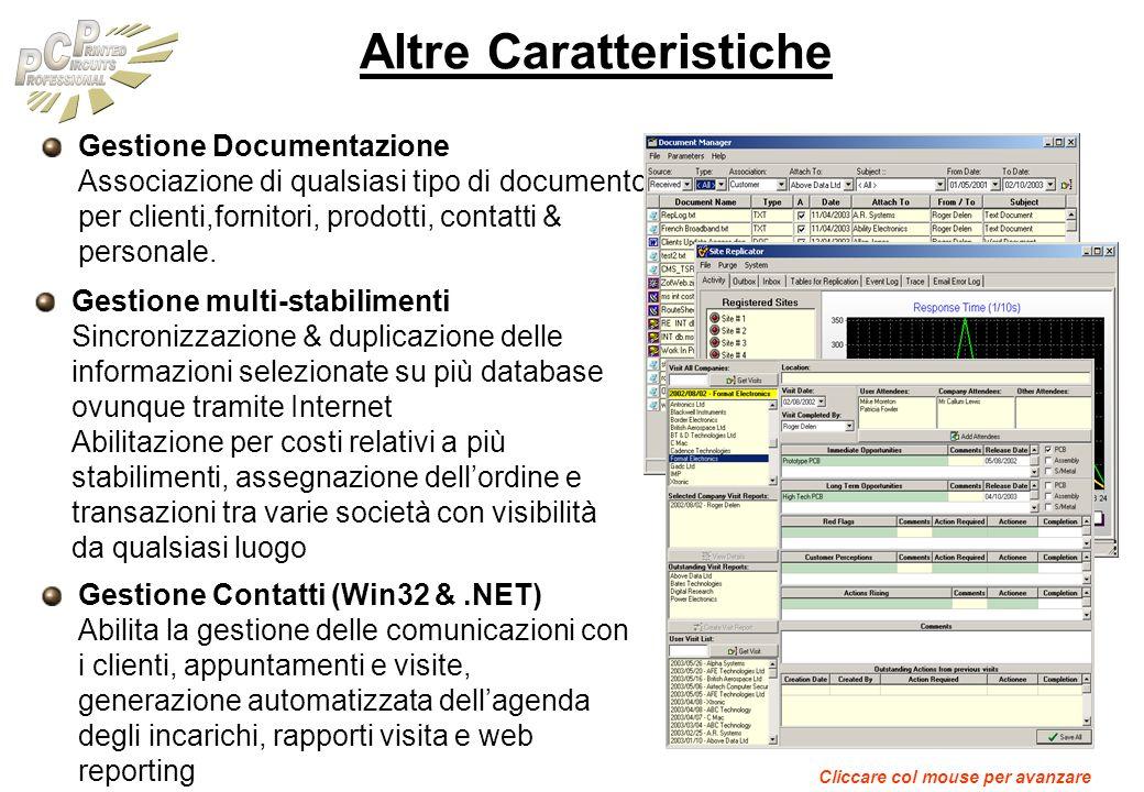 Altre Caratteristiche Gestione Documentazione Associazione di qualsiasi tipo di documento per clienti,fornitori, prodotti, contatti & personale. Gesti