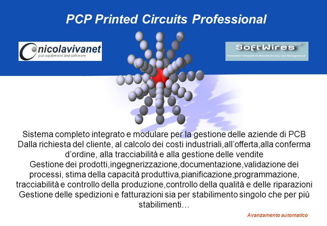 PCP Printed Circuits Professional Sistema completo integrato e modulare per la gestione delle aziende di PCB Dalla richiesta del cliente, al calcolo d