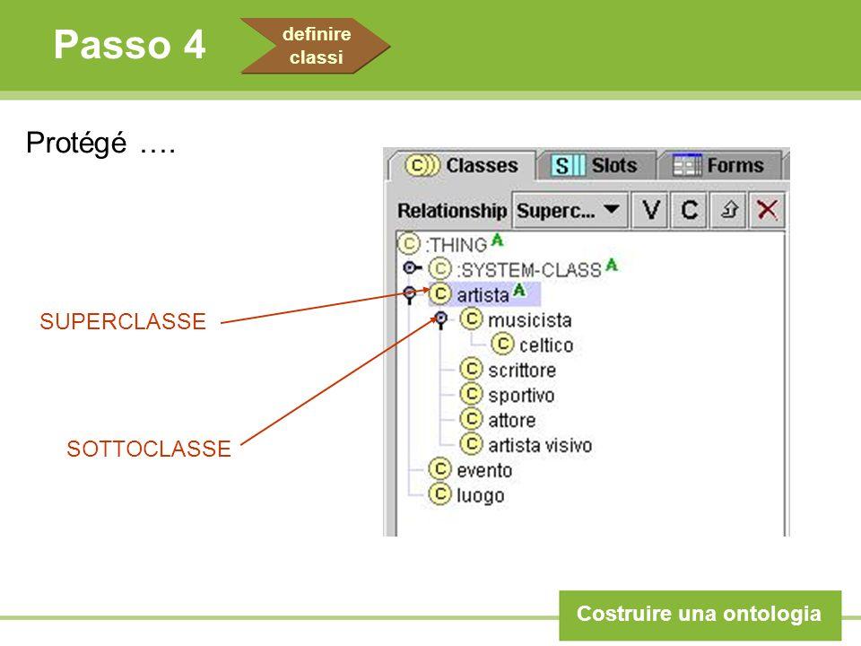 Passo 4 Costruire una ontologia definire classi Protégé …. SUPERCLASSE SOTTOCLASSE