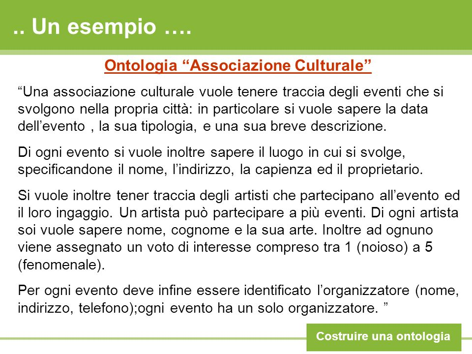 .. Un esempio …. Costruire una ontologia Ontologia Associazione Culturale Una associazione culturale vuole tenere traccia degli eventi che si svolgono