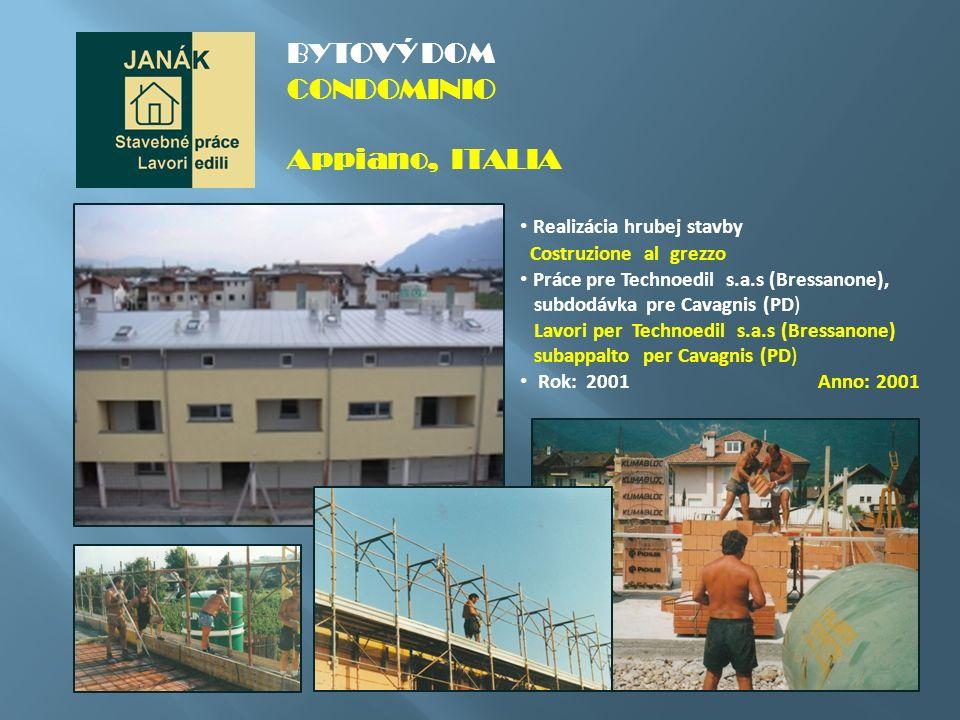 Rekonštrukcia hotela Ristrutturazione dell´albergo Práce pre Technoedil s.a.s (Bresanone), subdodávka pre BERNARD (TN) Lavori per Technoedil s.a.s (Bressanone) subappalto per BERNARD (TN) Rok: 2000 Anno: 2000 HOTEL SEEGARTEN Caldaro, ITALIA