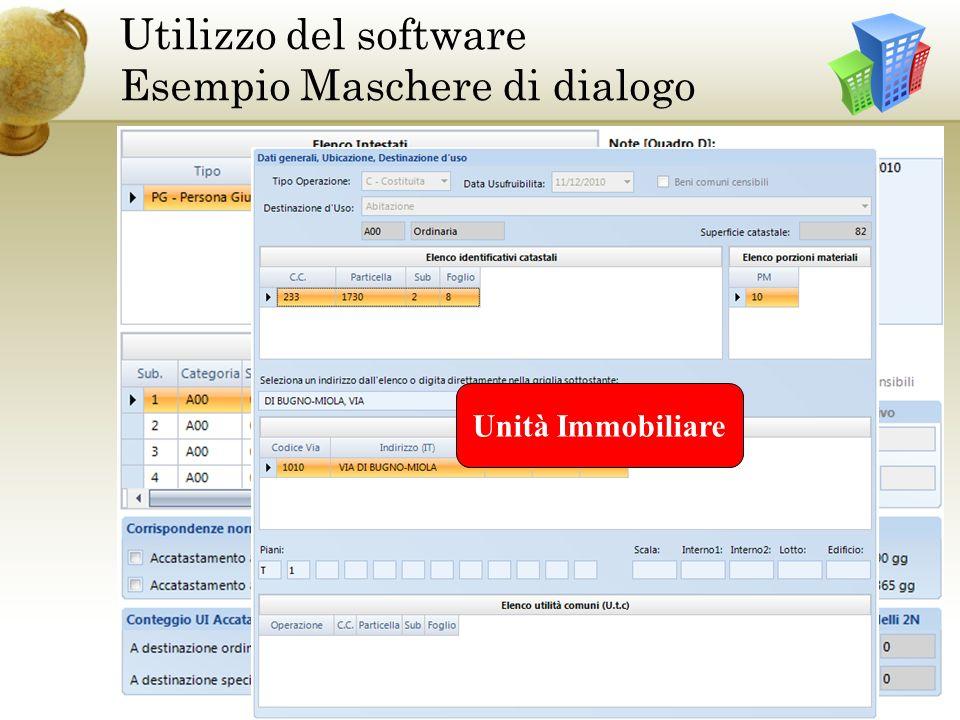 Ditta Utilizzo del software Esempio Maschere di dialogo Unità Immobiliare