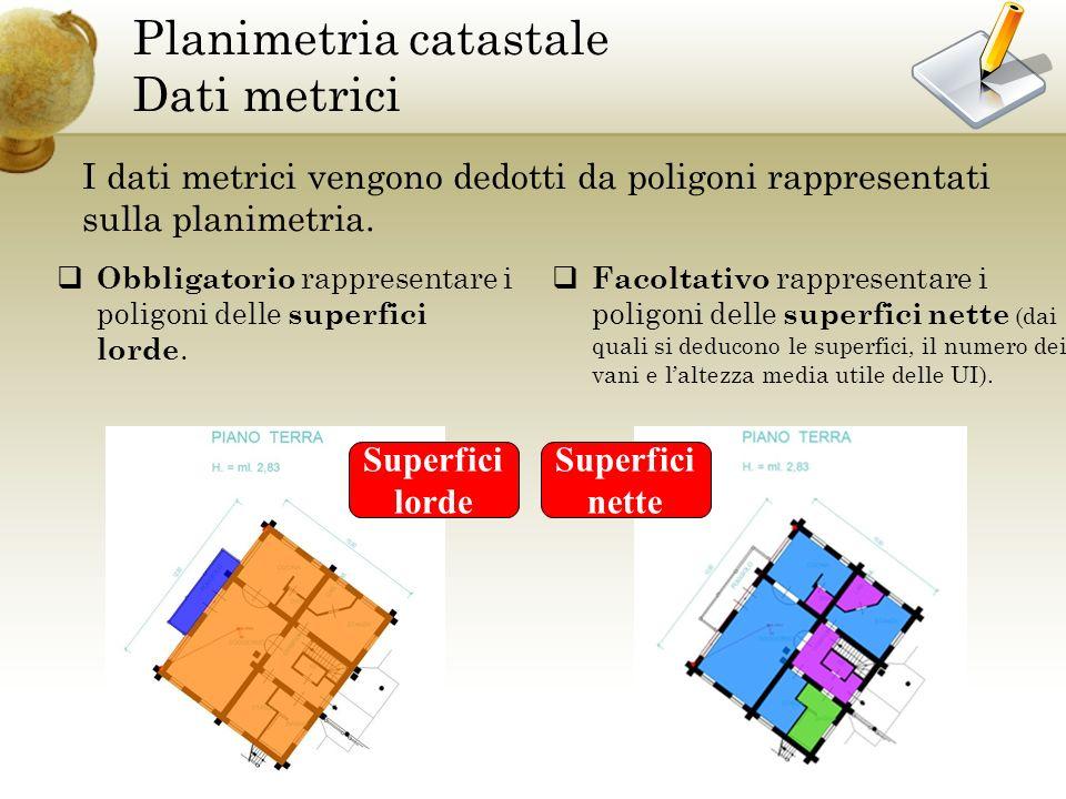 Planimetria catastale Dati metrici I dati metrici vengono dedotti da poligoni rappresentati sulla planimetria.