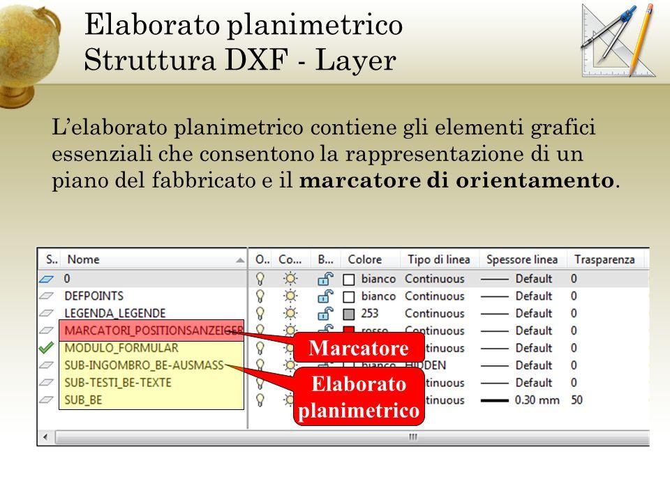 Elaborato planimetrico Struttura DXF - Layer Lelaborato planimetrico contiene gli elementi grafici essenziali che consentono la rappresentazione di un piano del fabbricato e il marcatore di orientamento.