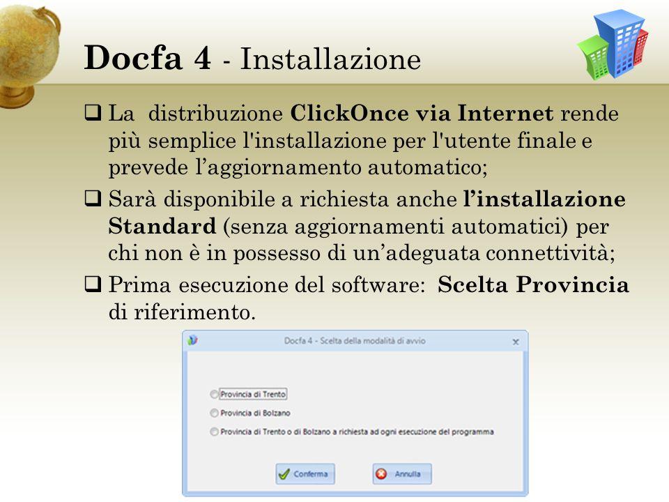 Docfa 4 Cartella Docfa in Documenti dellutente Alla prima esecuzione del software viene creata la cartella Docfa in Documenti dellutente contenente il DB e le cartelle: Deploy – Printings – Support – Transfer Cartella Docfa