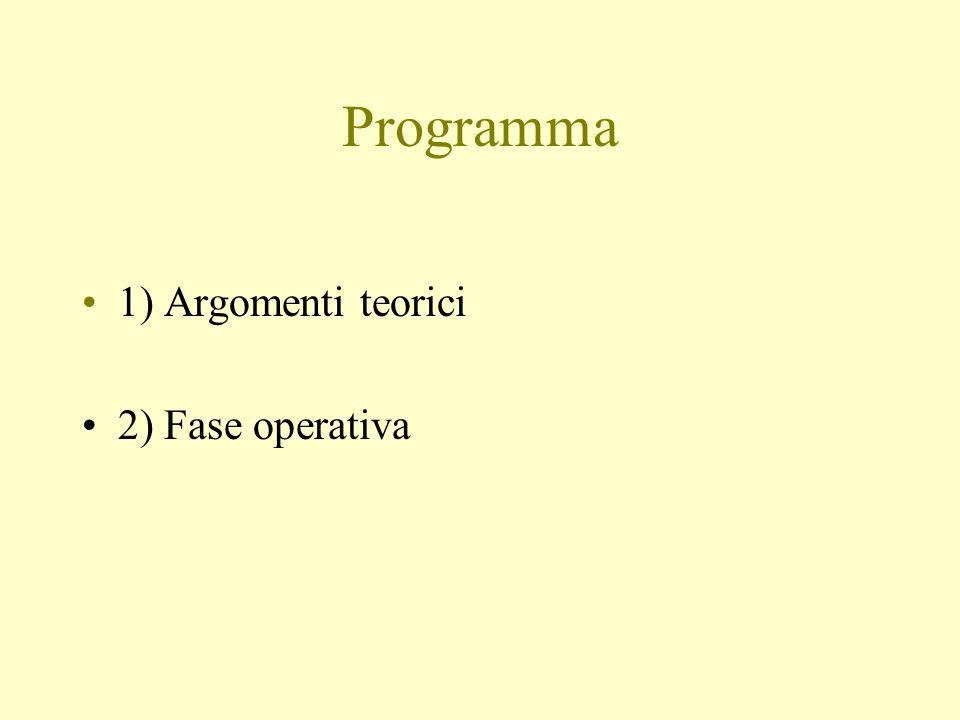 Programma 1) Argomenti teorici 2) Fase operativa