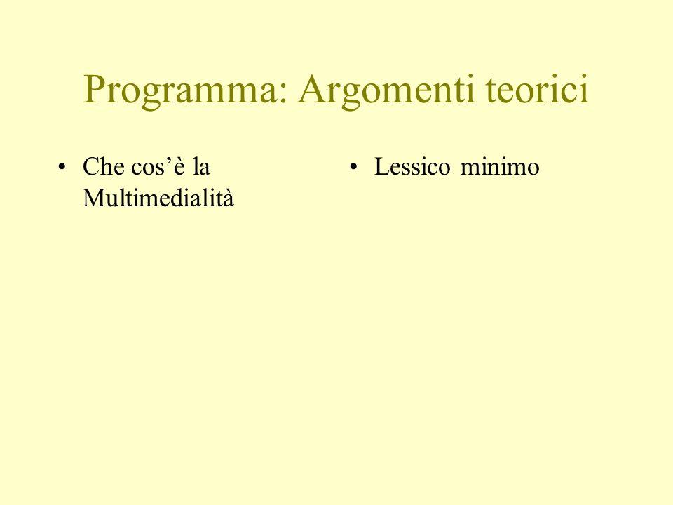 Programma: Argomenti teorici Che cosè la Multimedialità Lessico minimo
