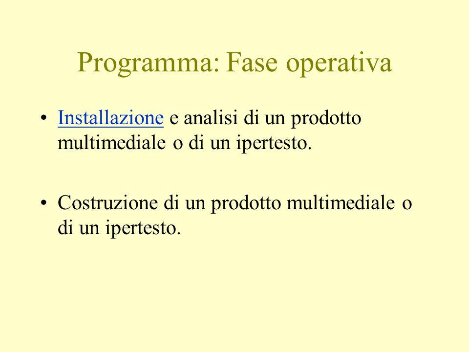 Programma: Fase operativa Installazione e analisi di un prodotto multimediale o di un ipertesto.Installazione Costruzione di un prodotto multimediale o di un ipertesto.