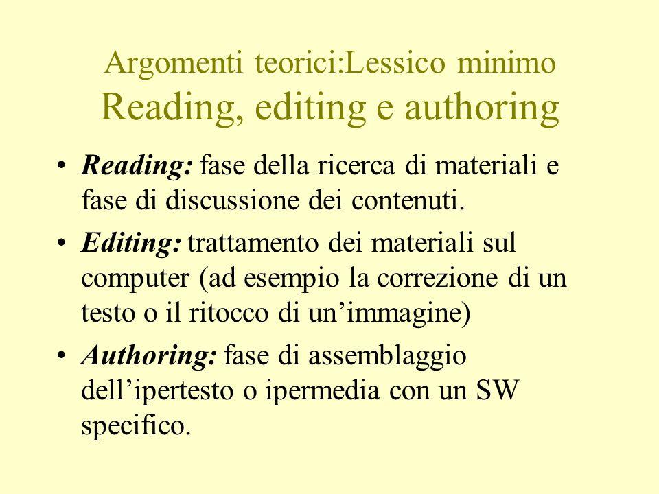 Argomenti teorici:Lessico minimo Reading, editing e authoring Reading: fase della ricerca di materiali e fase di discussione dei contenuti.
