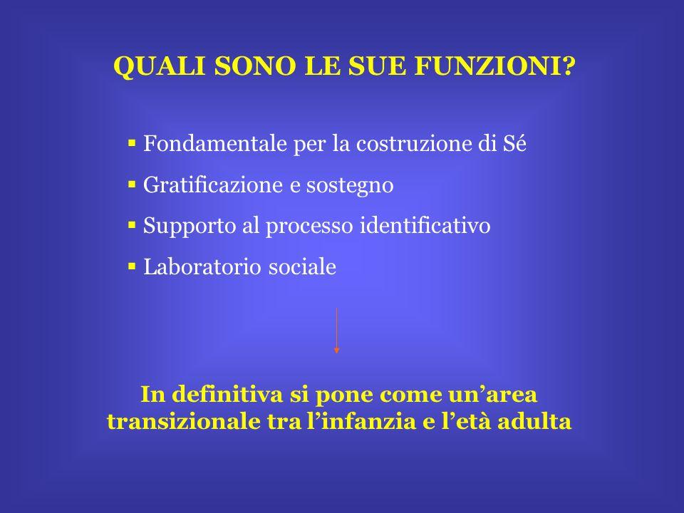QUALI SONO LE SUE FUNZIONI? Fondamentale per la costruzione di Sé Gratificazione e sostegno Supporto al processo identificativo Laboratorio sociale In