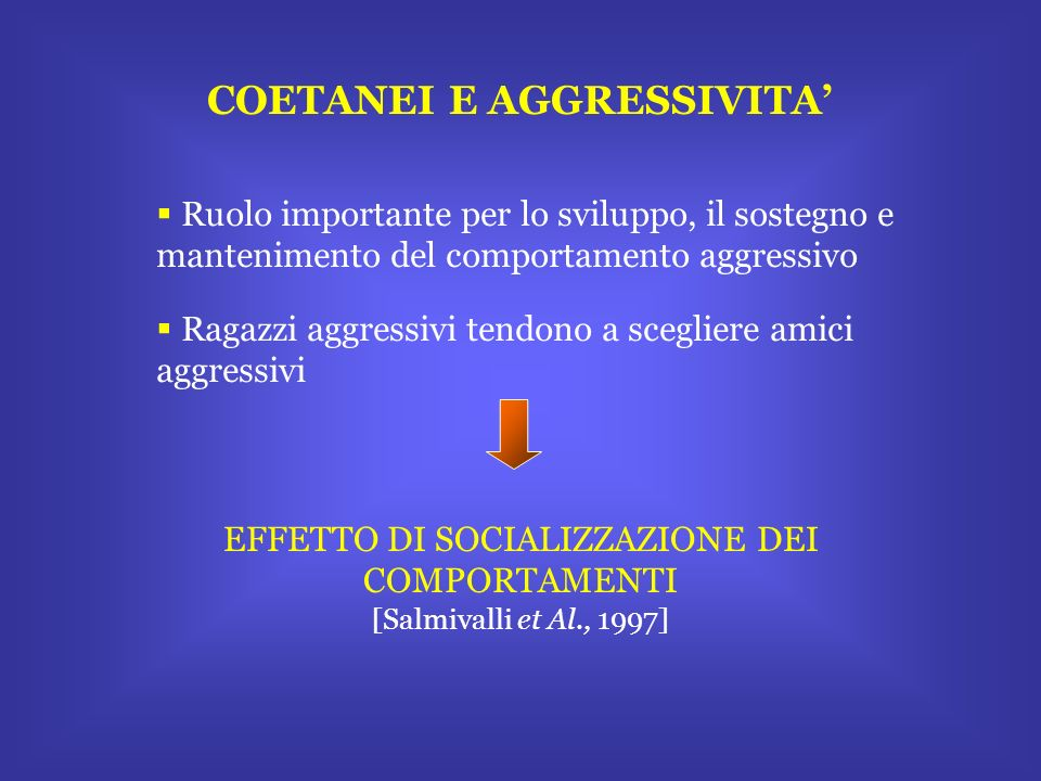 COETANEI E AGGRESSIVITA Ruolo importante per lo sviluppo, il sostegno e mantenimento del comportamento aggressivo Ragazzi aggressivi tendono a sceglie