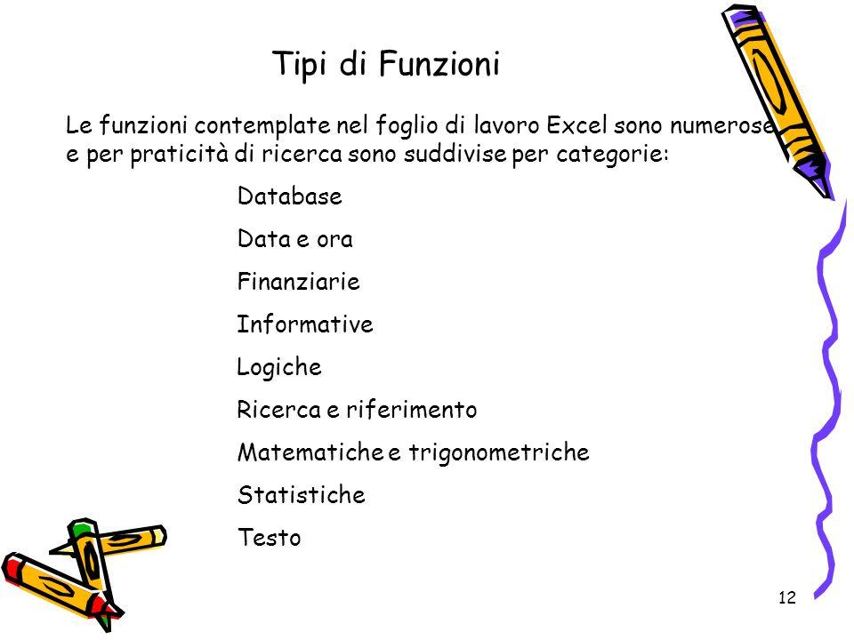 12 Tipi di Funzioni Le funzioni contemplate nel foglio di lavoro Excel sono numerose e per praticità di ricerca sono suddivise per categorie: Database Data e ora Finanziarie Informative Logiche Ricerca e riferimento Matematiche e trigonometriche Statistiche Testo
