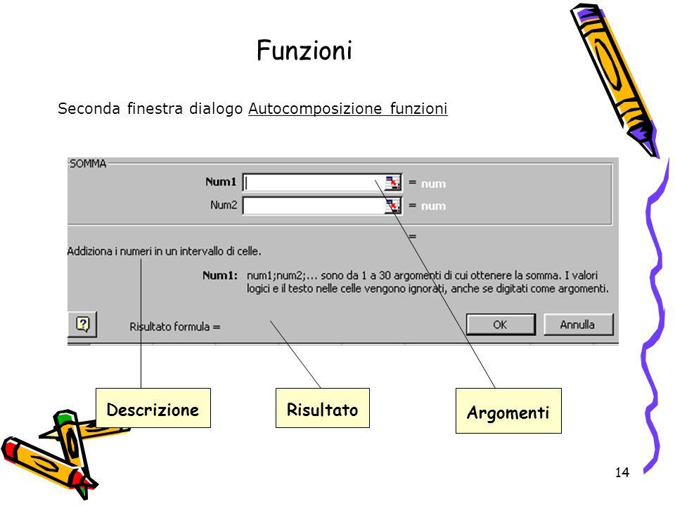 14 Funzioni Seconda finestra dialogo Autocomposizione funzioni DescrizioneRisultato Argomenti