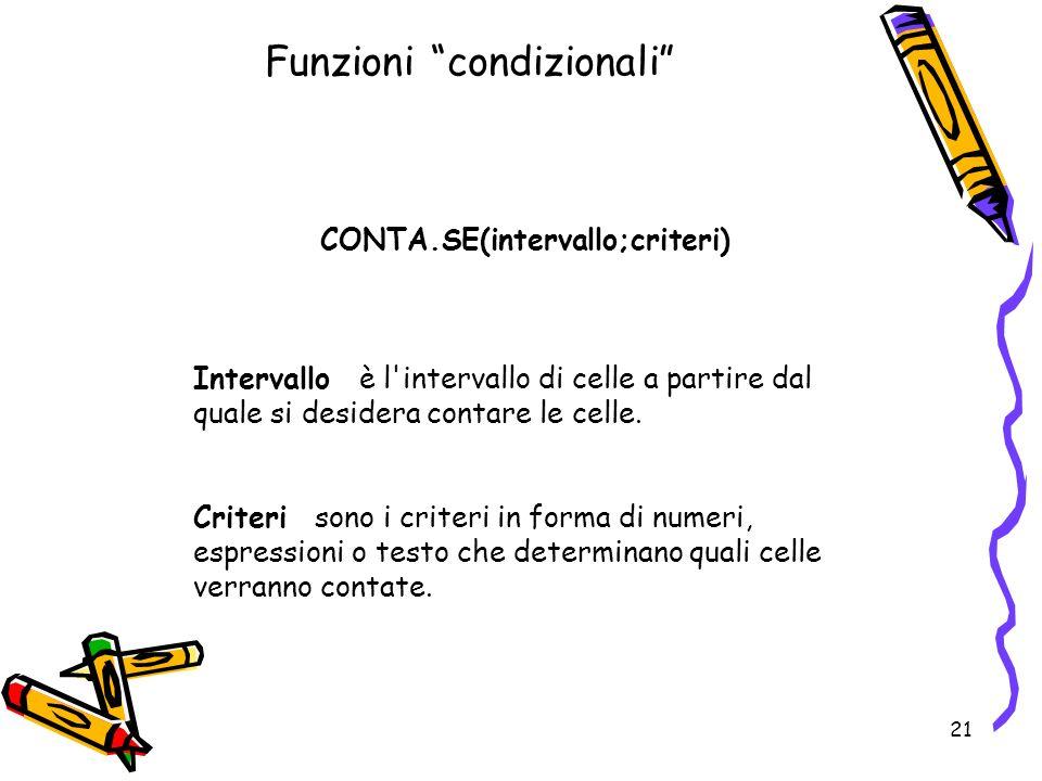 21 Funzioni condizionali CONTA.SE(intervallo;criteri) Intervallo è l intervallo di celle a partire dal quale si desidera contare le celle.
