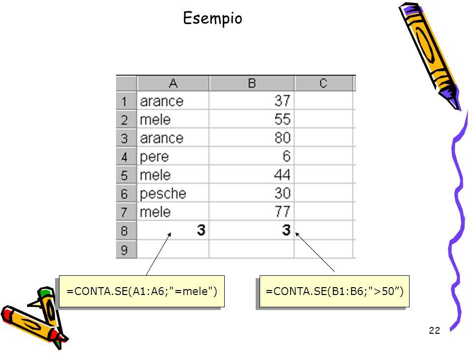 22 Esempio =CONTA.SE(A1:A6; =mele ) =CONTA.SE(B1:B6; >50)