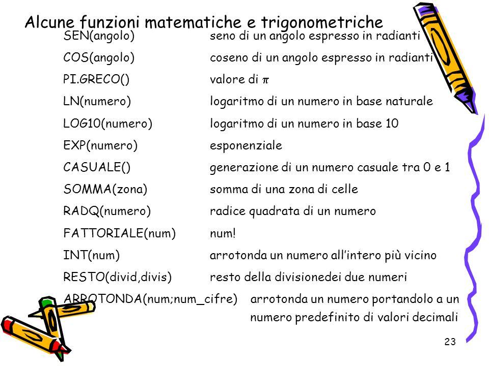 23 Alcune funzioni matematiche e trigonometriche SEN(angolo)seno di un angolo espresso in radianti COS(angolo)coseno di un angolo espresso in radianti PI.GRECO()valore di LN(numero)logaritmo di un numero in base naturale LOG10(numero) logaritmo di un numero in base 10 EXP(numero)esponenziale CASUALE()generazione di un numero casuale tra 0 e 1 SOMMA(zona)somma di una zona di celle RADQ(numero)radice quadrata di un numero FATTORIALE(num)num.