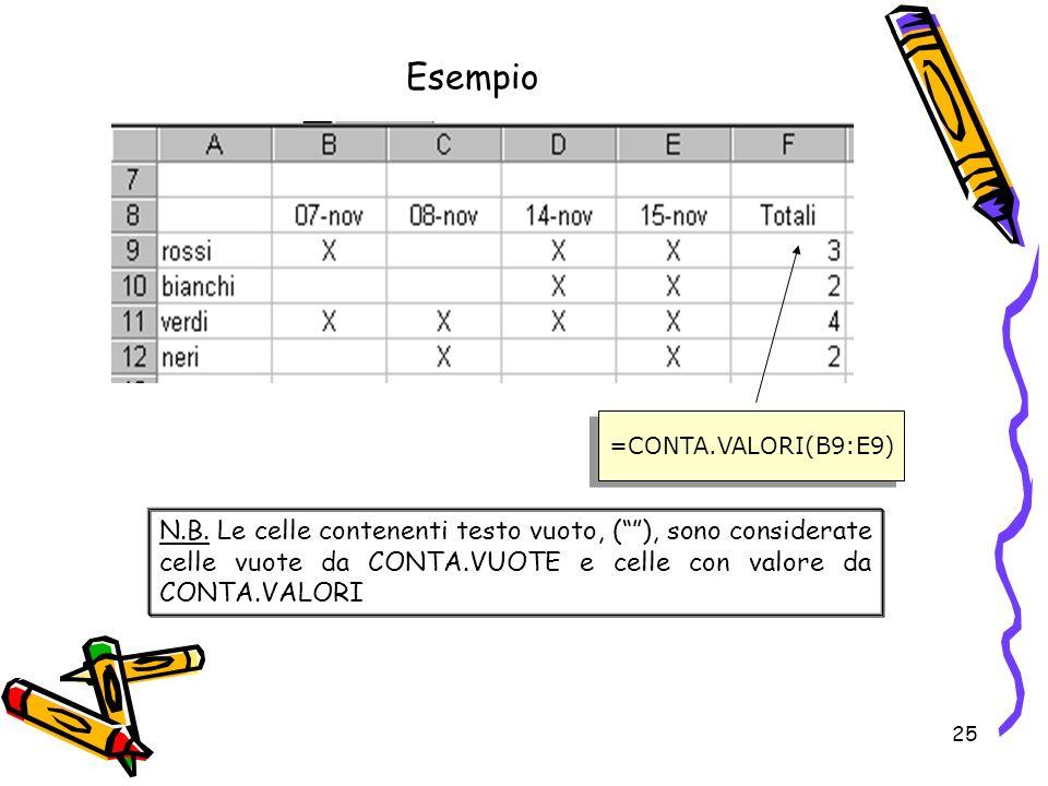 25 Esempio =CONTA.VALORI(B9:E9) N.B.