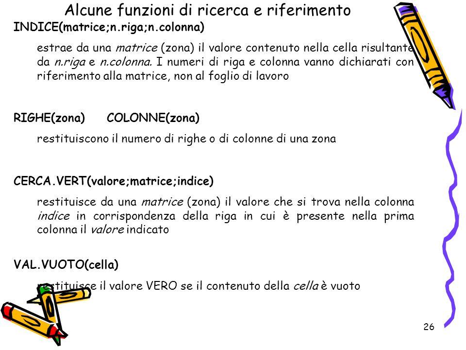 26 Alcune funzioni di ricerca e riferimento INDICE(matrice;n.riga;n.colonna) estrae da una matrice (zona) il valore contenuto nella cella risultante da n.riga e n.colonna.