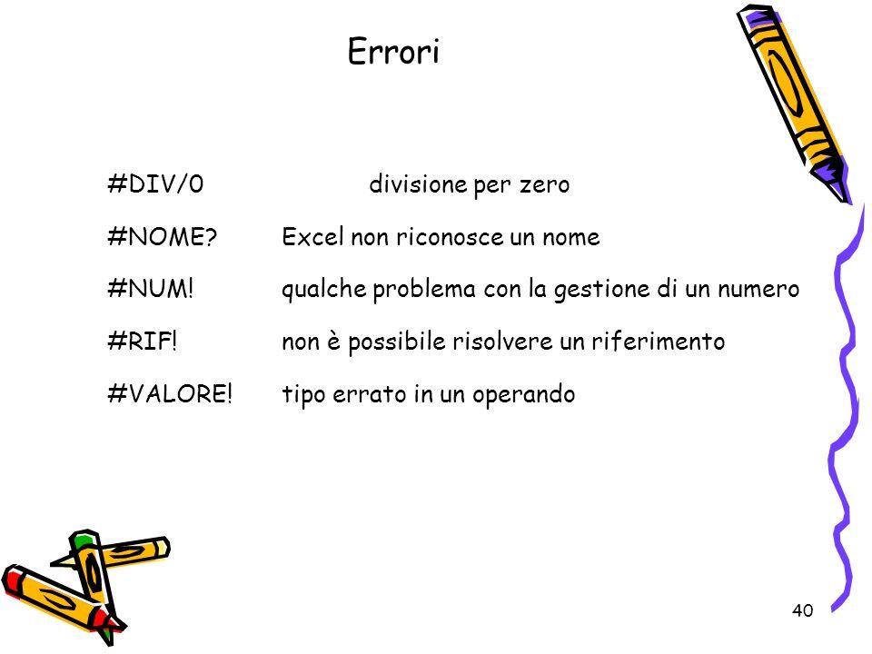 40 Errori #DIV/0divisione per zero #NOME Excel non riconosce un nome #NUM!qualche problema con la gestione di un numero #RIF!non è possibile risolvere un riferimento #VALORE!tipo errato in un operando