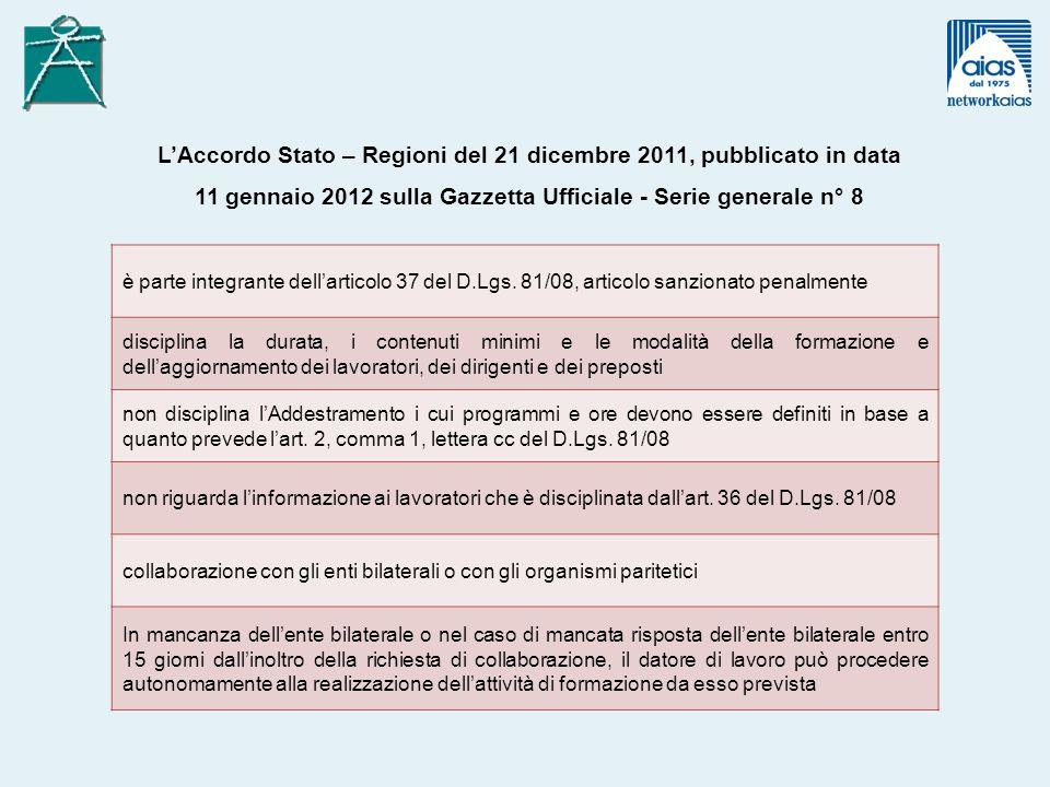 è parte integrante dellarticolo 37 del D.Lgs. 81/08, articolo sanzionato penalmente disciplina la durata, i contenuti minimi e le modalità della forma
