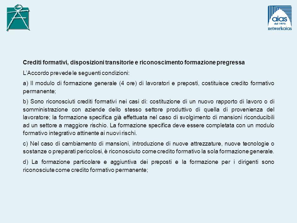 Crediti formativi, disposizioni transitorie e riconoscimento formazione pregressa LAccordo prevede le seguenti condizioni: a) Il modulo di formazione