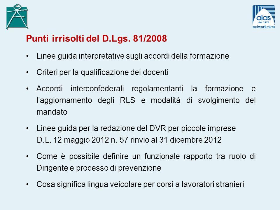 Punti irrisolti del D.Lgs. 81/2008 Linee guida interpretative sugli accordi della formazione Criteri per la qualificazione dei docenti Accordi interco