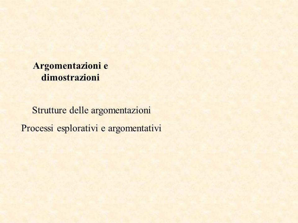 Strutture delle argomentazioni Processi esplorativi e argomentativi ESEMPI Argomentazioni e dimostrazioni