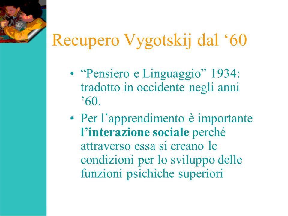 Recupero Vygotskij dal 60 Pensiero e Linguaggio 1934: tradotto in occidente negli anni 60. Per lapprendimento è importante linterazione sociale perché