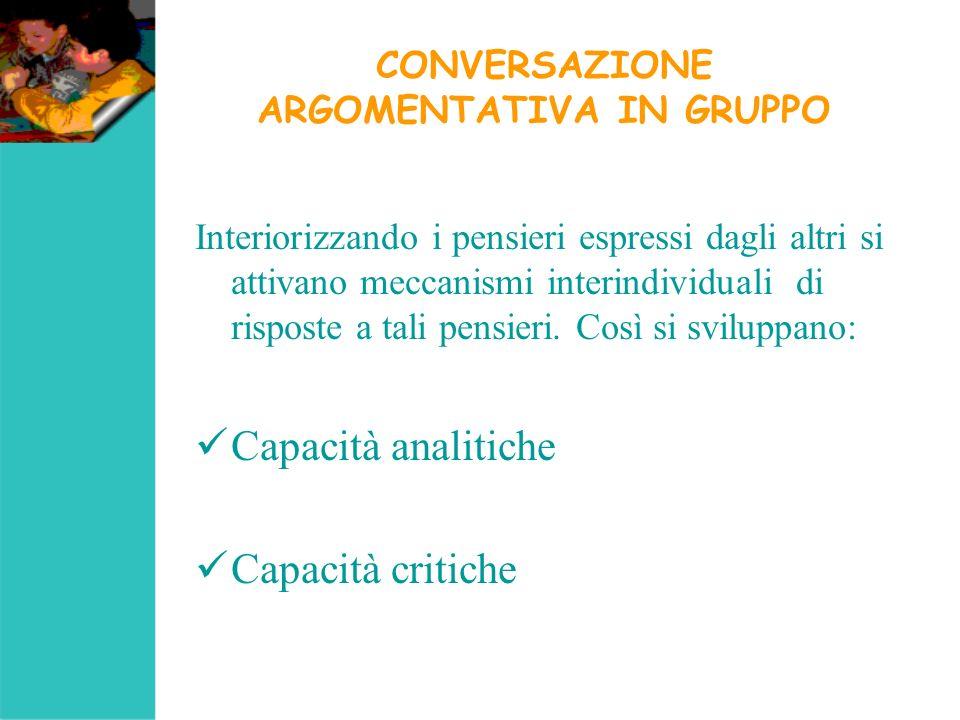 CONVERSAZIONE ARGOMENTATIVA IN GRUPPO Interiorizzando i pensieri espressi dagli altri si attivano meccanismi interindividuali di risposte a tali pensi