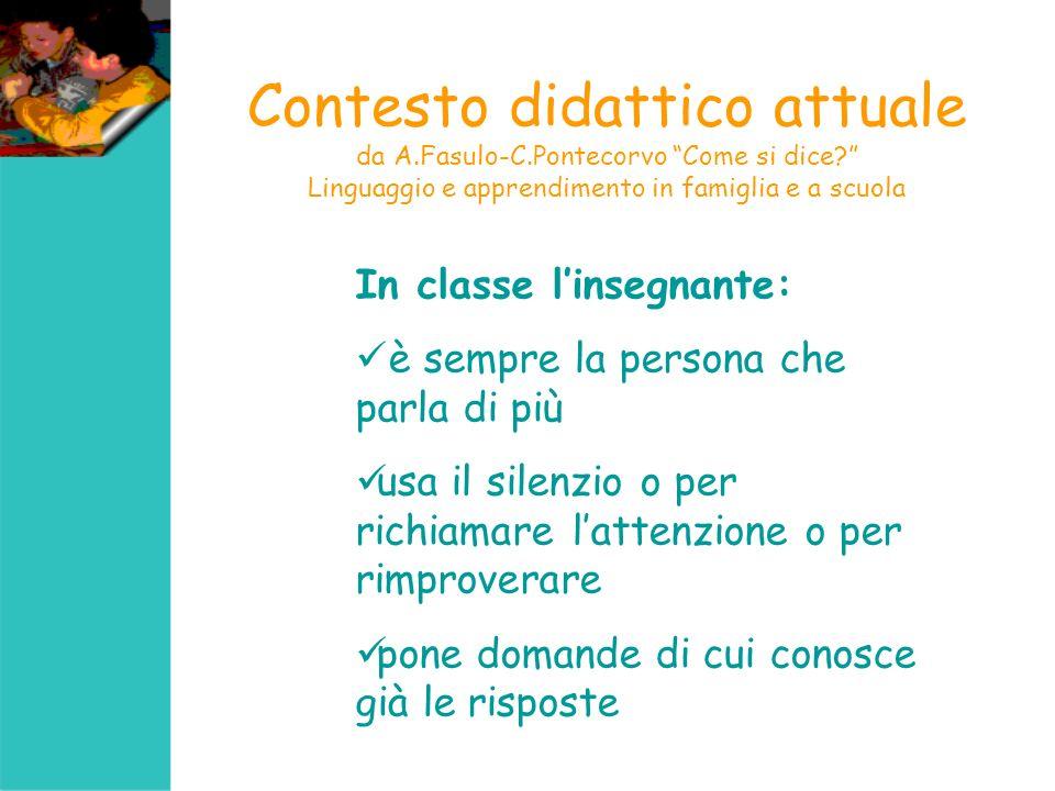 Contesto didattico attuale da A.Fasulo-C.Pontecorvo Come si dice? Linguaggio e apprendimento in famiglia e a scuola In classe linsegnante: è sempre la