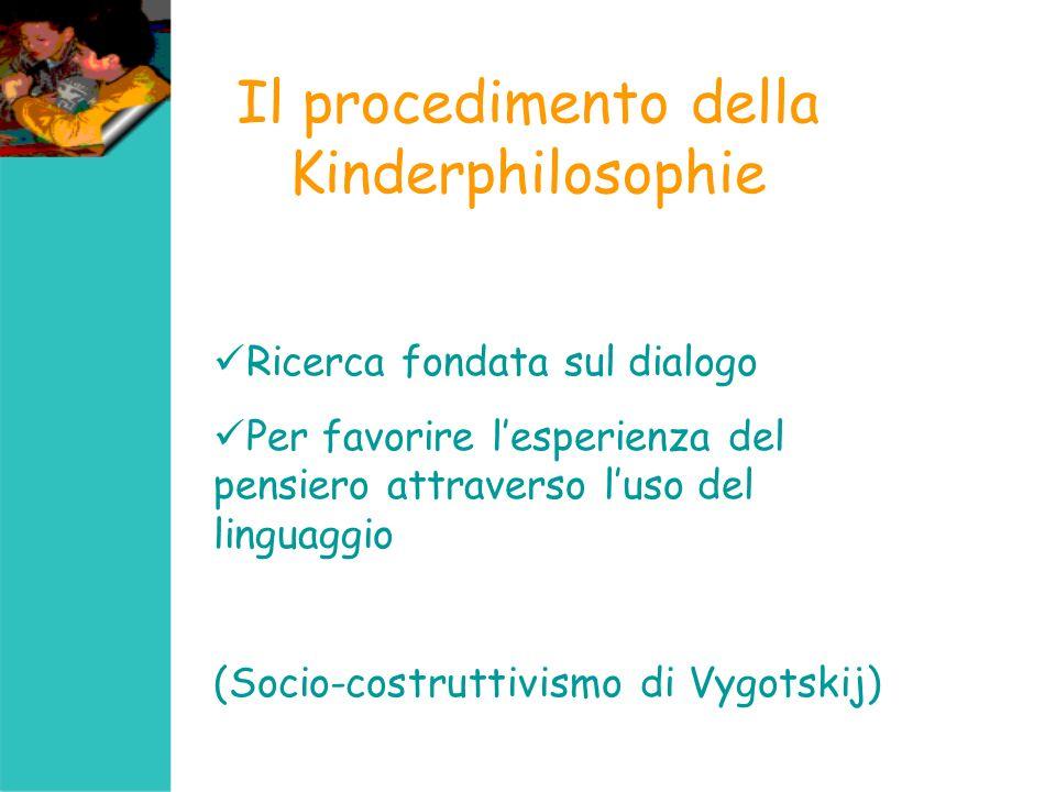 Il procedimento della Kinderphilosophie Ricerca fondata sul dialogo Per favorire lesperienza del pensiero attraverso luso del linguaggio (Socio-costru