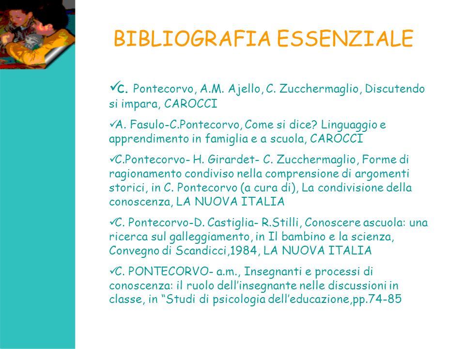 BIBLIOGRAFIA ESSENZIALE c. Pontecorvo, A.M. Ajello, C. Zucchermaglio, Discutendo si impara, CAROCCI A. Fasulo-C.Pontecorvo, Come si dice? Linguaggio e