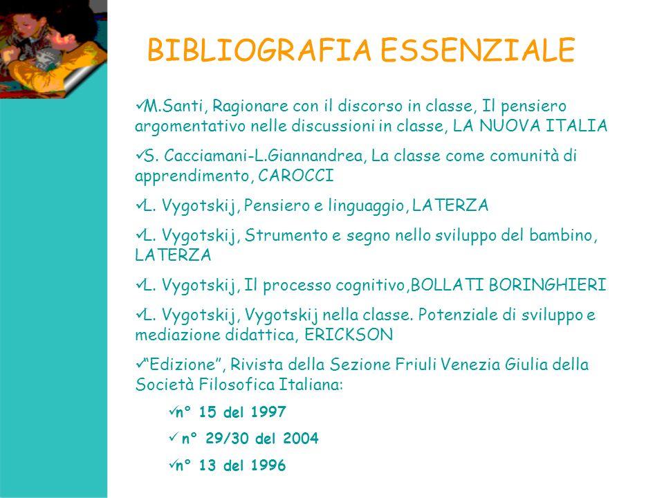 BIBLIOGRAFIA ESSENZIALE M.Santi, Ragionare con il discorso in classe, Il pensiero argomentativo nelle discussioni in classe, LA NUOVA ITALIA S. Caccia