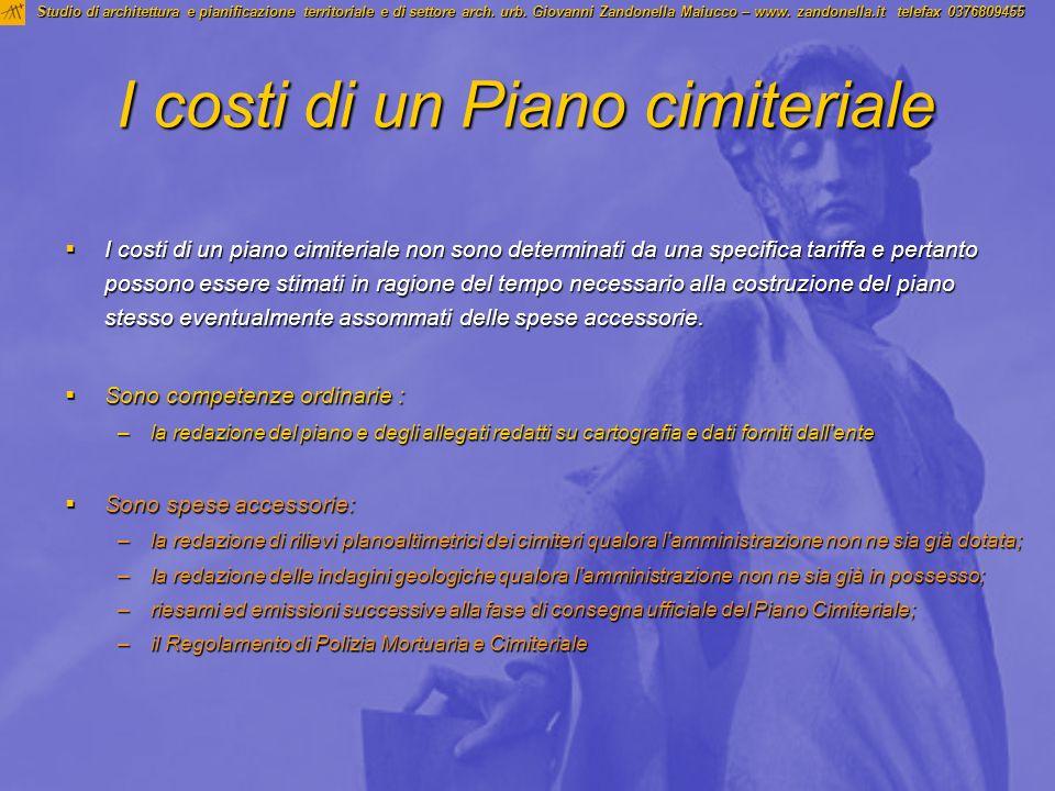 I costi di un Piano cimiteriale Studio di architettura e pianificazione territoriale e di settore arch. urb. Giovanni Zandonella Maiucco – www. zandon