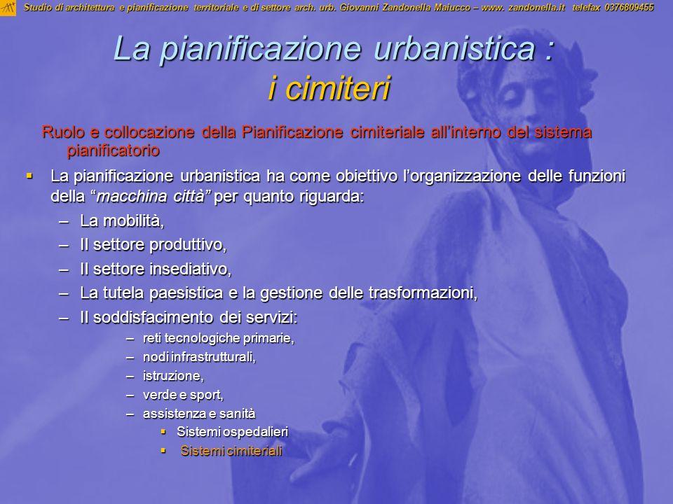 La pianificazione urbanistica : i cimiteri La pianificazione urbanistica : i cimiteri La pianificazione urbanistica ha come obiettivo lorganizzazione