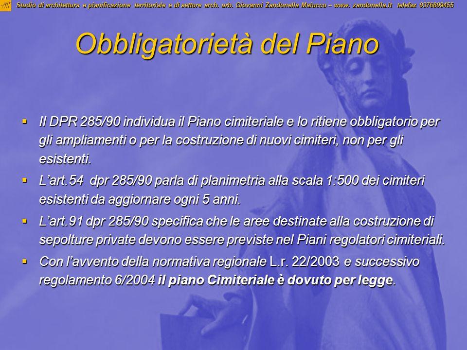 Obbligatorietà del Piano Il DPR 285/90 individua il Piano cimiteriale e lo ritiene obbligatorio per gli ampliamenti o per la costruzione di nuovi cimi