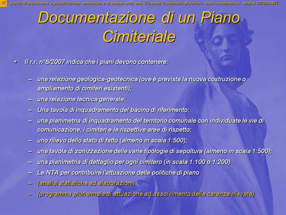 Documentazione di un Piano Cimiteriale Il r.r. n°6/2007 indica che i piani devono contenere: Il r.r. n°6/2007 indica che i piani devono contenere: –un