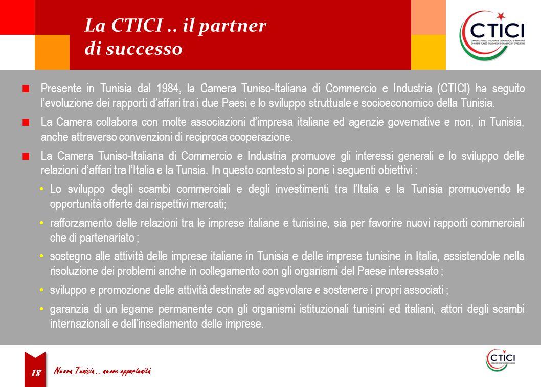 Nuova Tunisia.. nuove opportunità 18 La CTICI..