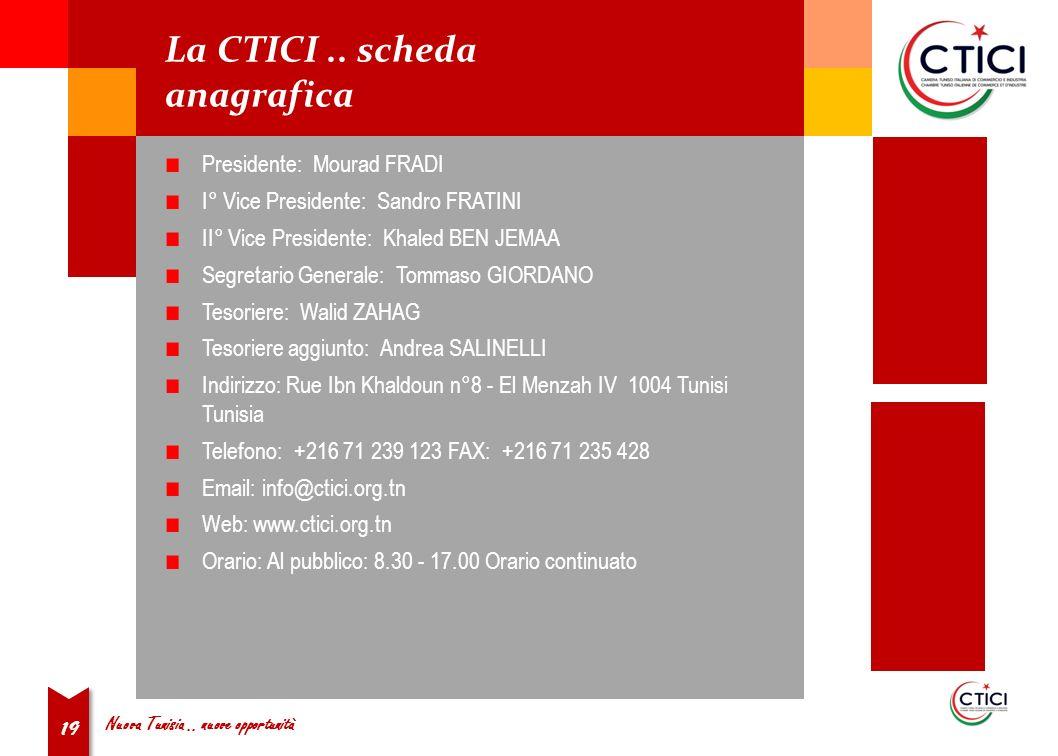 Nuova Tunisia.. nuove opportunità 19 La CTICI..
