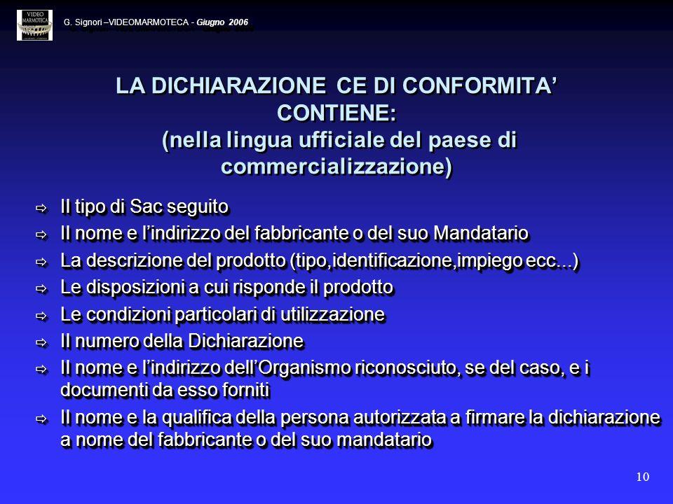 10 LA DICHIARAZIONE CE DI CONFORMITA CONTIENE: (nella lingua ufficiale del paese di commercializzazione) Il tipo di Sac seguito Il tipo di Sac seguito