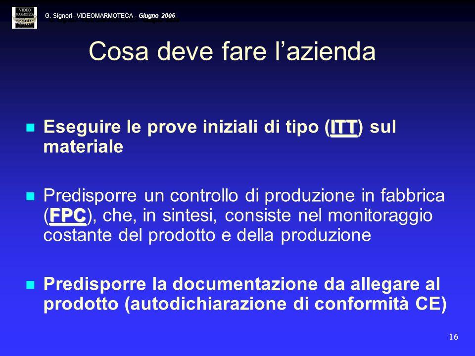 16 Cosa deve fare lazienda ITT Eseguire le prove iniziali di tipo (ITT) sul materiale FPC Predisporre un controllo di produzione in fabbrica (FPC), ch