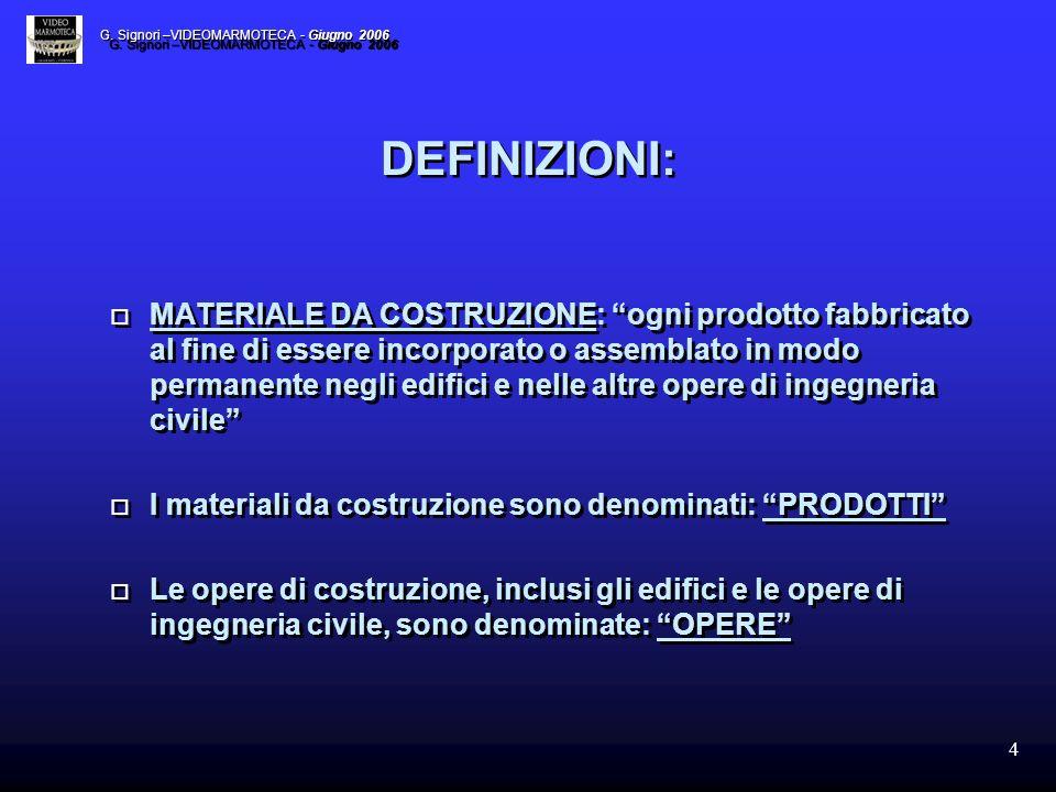 4 DEFINIZIONI: MATERIALE DA COSTRUZIONE: ogni prodotto fabbricato al fine di essere incorporato o assemblato in modo permanente negli edifici e nelle