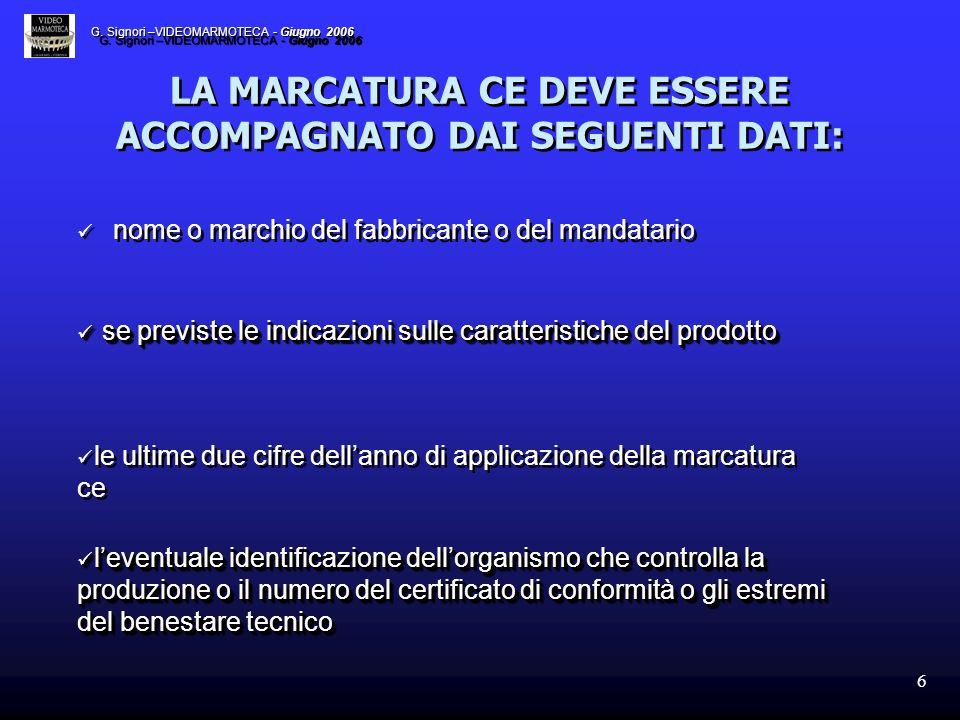 6 LA MARCATURA CE DEVE ESSERE ACCOMPAGNATO DAI SEGUENTI DATI: nome o marchio del fabbricante o del mandatario se previste le indicazioni sulle caratte