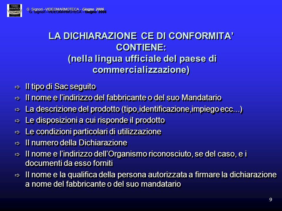 9 LA DICHIARAZIONE CE DI CONFORMITA CONTIENE: (nella lingua ufficiale del paese di commercializzazione) Il tipo di Sac seguito Il tipo di Sac seguito