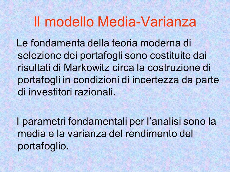 Il modello Media-Varianza Le fondamenta della teoria moderna di selezione dei portafogli sono costituite dai risultati di Markowitz circa la costruzione di portafogli in condizioni di incertezza da parte di investitori razionali.