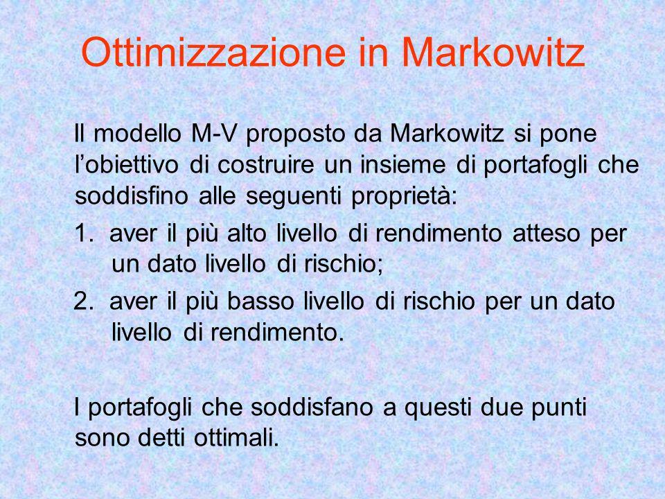 Ottimizzazione in Markowitz Il modello M-V proposto da Markowitz si pone lobiettivo di costruire un insieme di portafogli che soddisfino alle seguenti proprietà: 1.