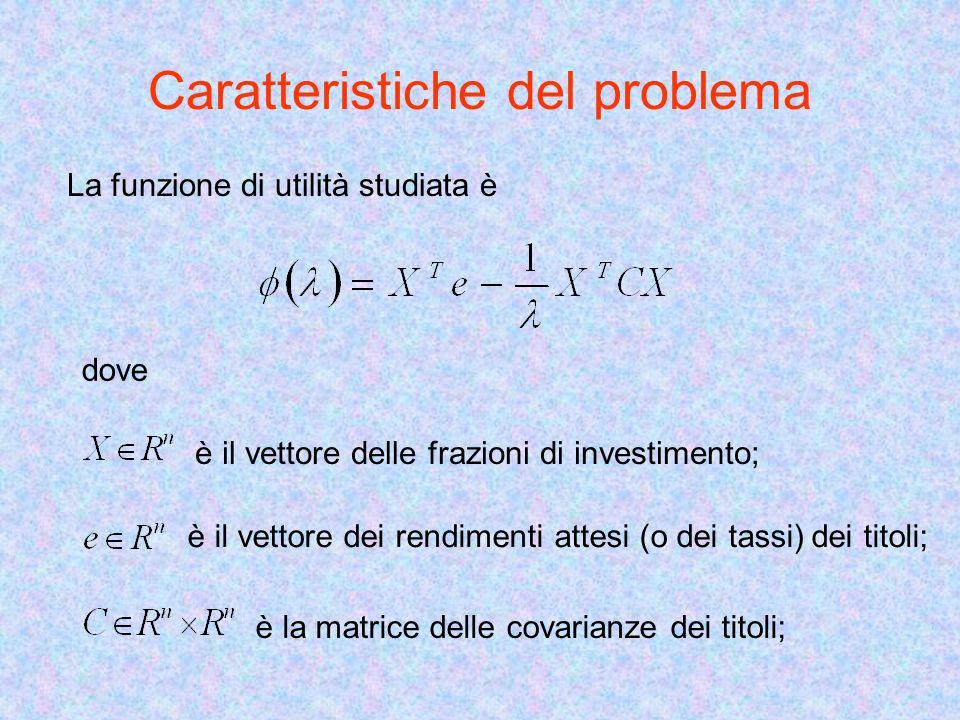 Caratteristiche del problema La funzione di utilità studiata è dove è il vettore delle frazioni di investimento; è il vettore dei rendimenti attesi (o dei tassi) dei titoli; è la matrice delle covarianze dei titoli;